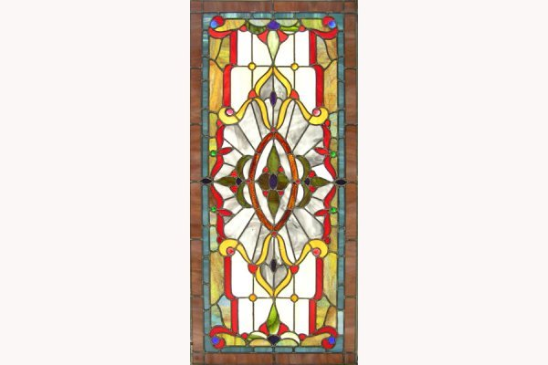 1011: BEAUTIFUL LEADED AND STAINED GLASS WINDOW.