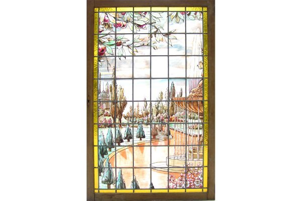 1015: FANTASTIC HANDPAINTED AND LEADED GLASS WINDOW OF