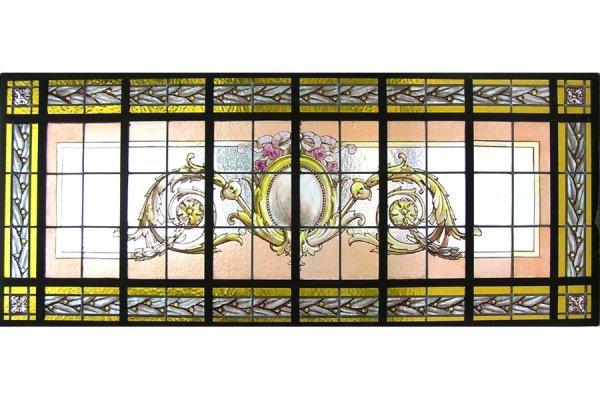 1016: HANDPAINTED & LEADED GLASS WINDOW SET INTO THE OR