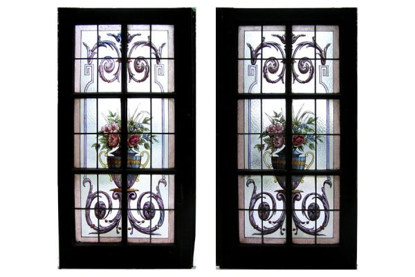 1018: MATCHED PAIR OF HANDPAINTED AND LEADED GLASS WIND