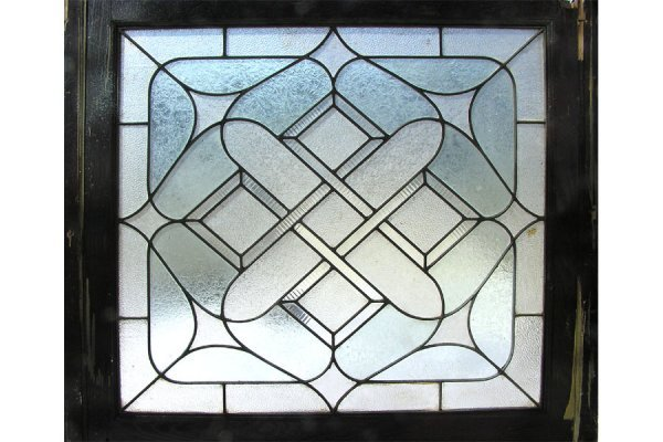 1019: LEADED GLASS WINDOW WITH CLEAR AND TEXTURED GLASS