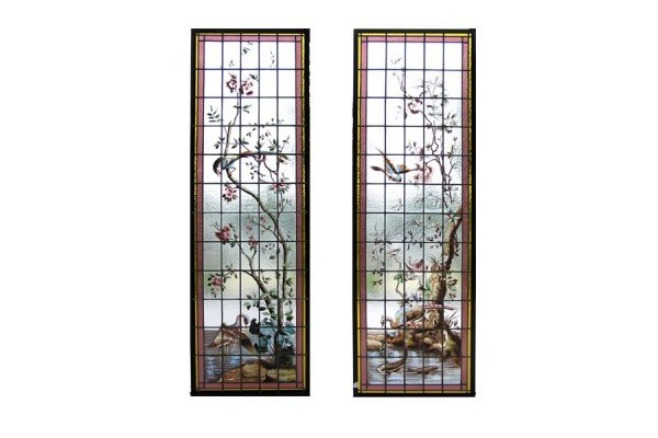 1022: RARE PAIR OF FRENCH HANDPAINTED AND LEADED GLASS