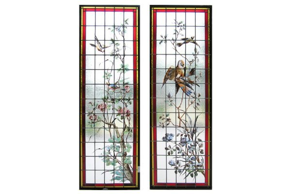 1023: RARE PAIR OF FRENCH HANDPAINTED AND LEADED GLASS