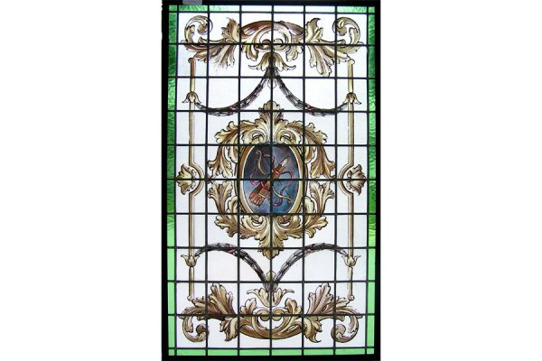 1024: HANDPAINTED AND LEADED GLASS WINDOW WITH A CENTER
