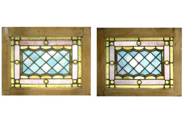 1026: LOVELY PAIR OF STAINED GLASS AND JEWELED WINDOWS