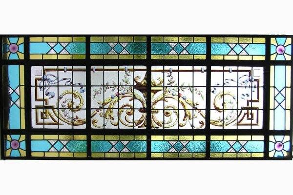 1031: RECTANGULAR STAINED GLASS WINDOW WITH A HANDPAINT