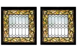 1035: MATCHED PAIR OF AMERICAN VICTORIAN STAINED GLASS