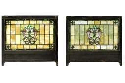 1039: PAIR OF AMERICAN VICTORIAN STAINED AND LEADED GLA