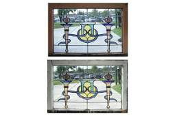 1074: PAIR OF AMERICAN VICTORIAN STAINED GLASS WINDOWS