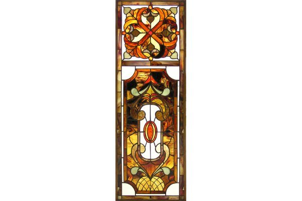 1001: FOUR MATCHING COPPER FOIL & STAINED GLASS WINDOW