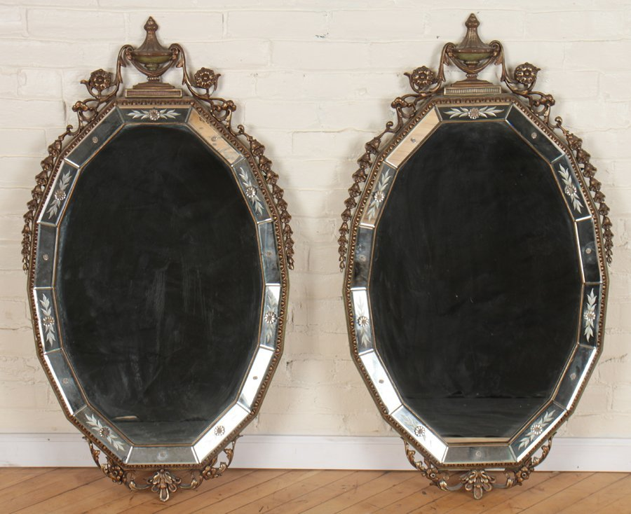 PAIR NEOCLASSICAL STYLE ETCHED BEVELED MIRRORS