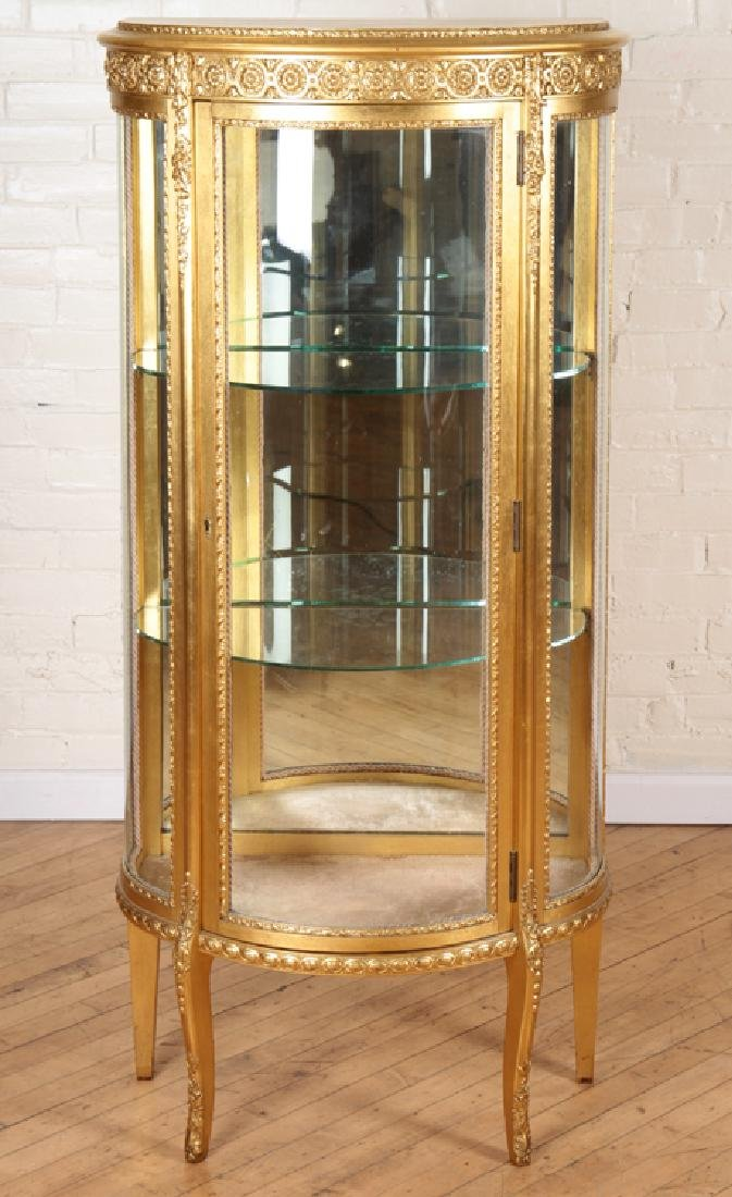 CARVED GILT WOOD VITRINE WITH GLASS SHELVES 1920