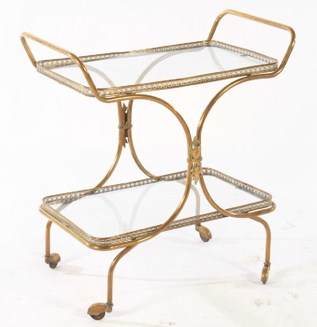 NEOCLASSICAL BRASS DINING CART GLASS TOP C.1940