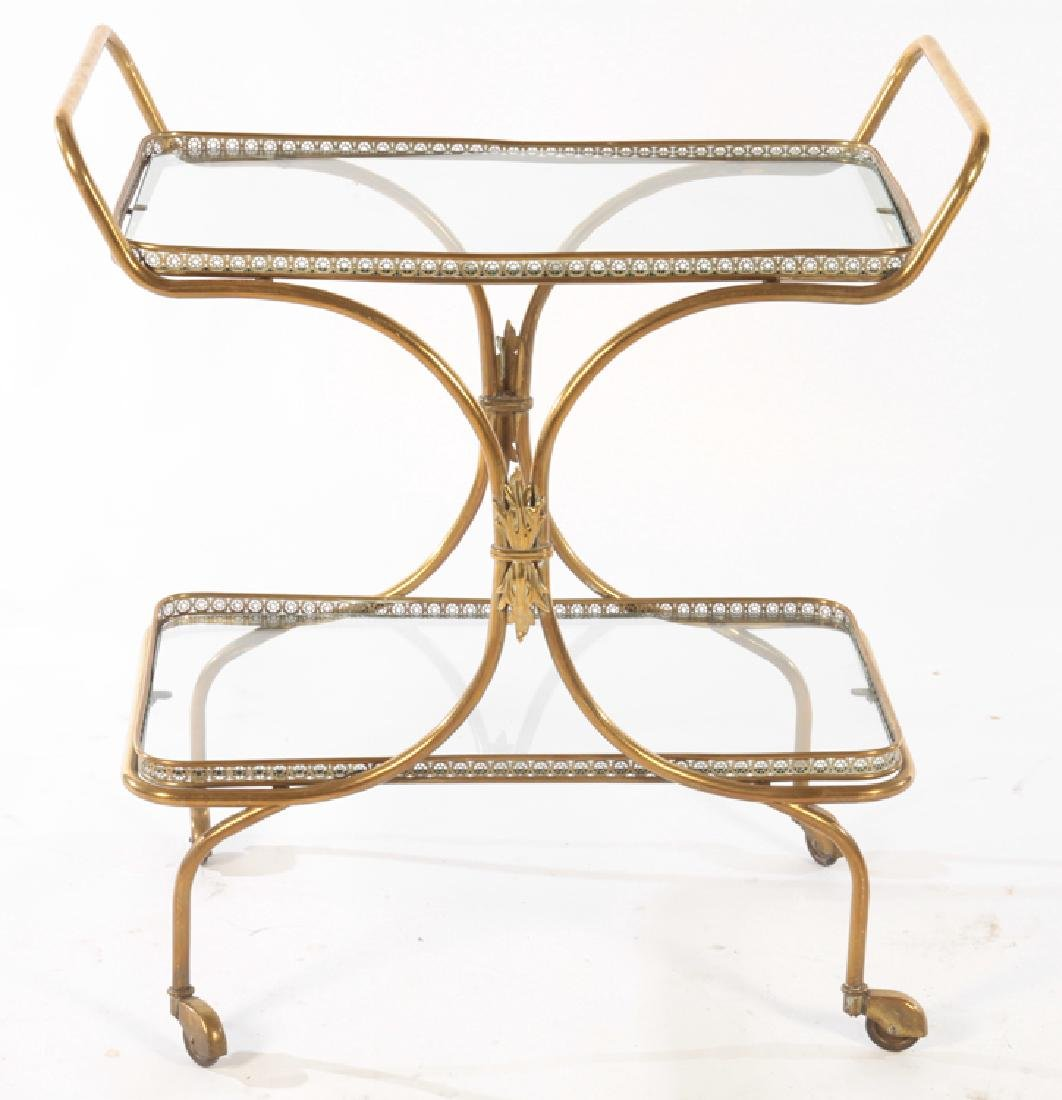 NEOCLASSICAL BRASS DINING CART GLASS TOP C.1940 - 2