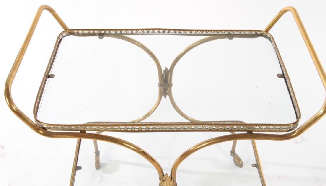 NEOCLASSICAL BRASS DINING CART GLASS TOP C.1940 - 3
