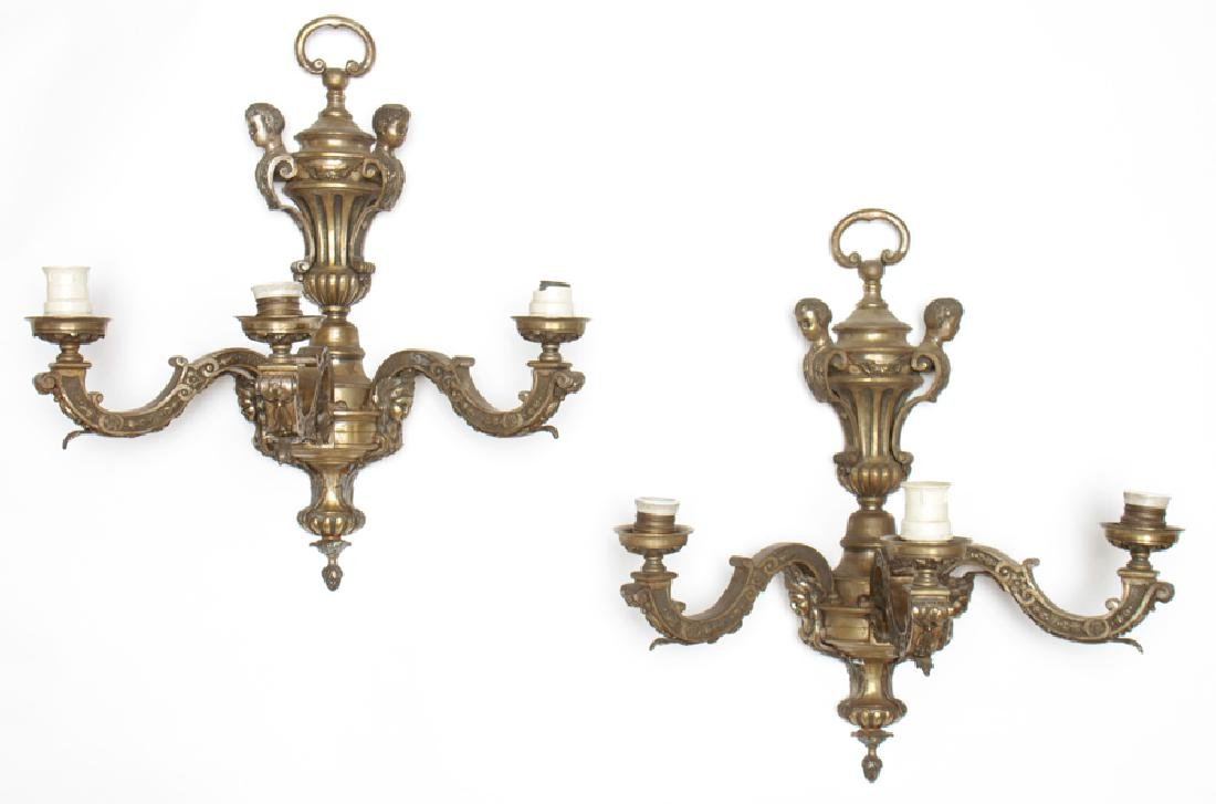 PAIR FRENCH FIGURAL URN FORM WALL SCONCES C.1910