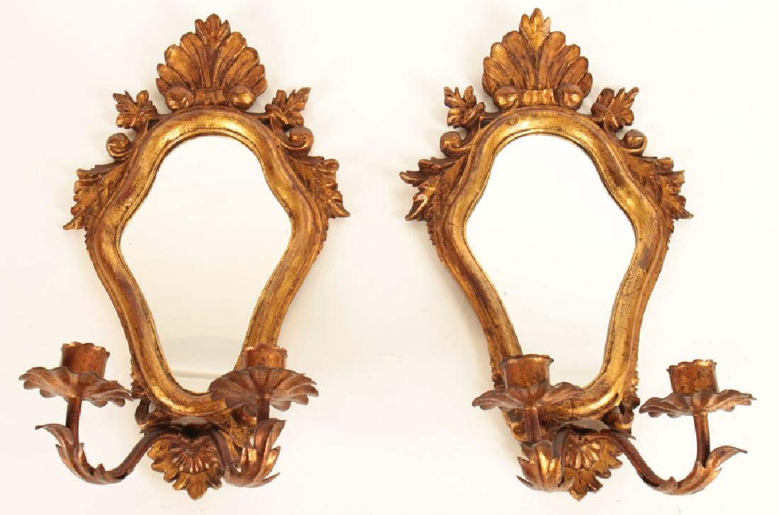 PAIR HAND CARVED ITALIAN 2 ARM WALL SCONCES