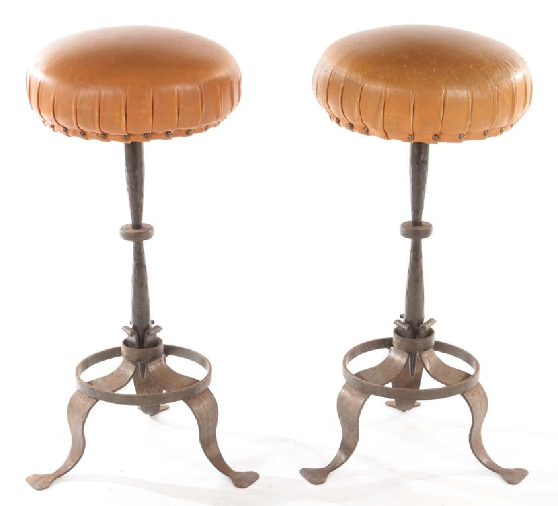 PAIR LEATHER WROUGHT IRON FRENCH STOOLS C.1900