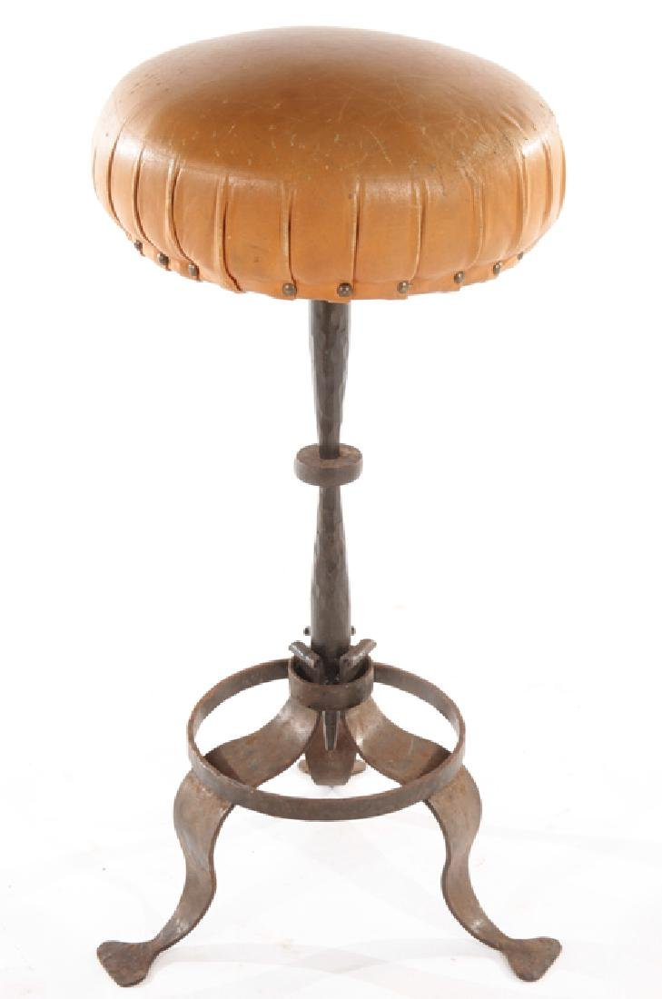 PAIR LEATHER WROUGHT IRON FRENCH STOOLS C.1900 - 2