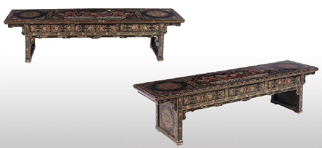 PAIR ASIAN LACQUERED SCHOLARS TABLES 3 DRAWERS
