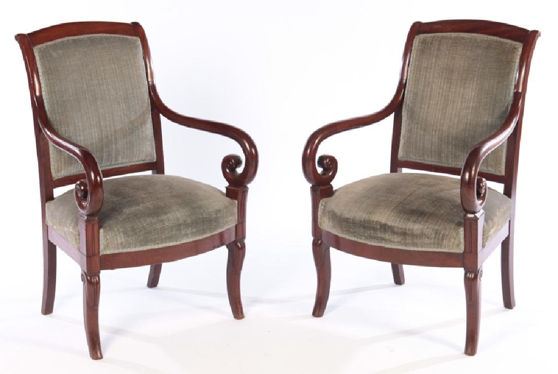 PAIR 19TH CENT. CHARLES X OPEN ARM CHAIRS
