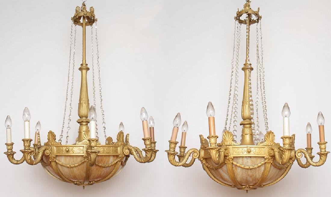 PAIR NEOCLASSICAL STYLE BASKET FORM CHANDELIERS