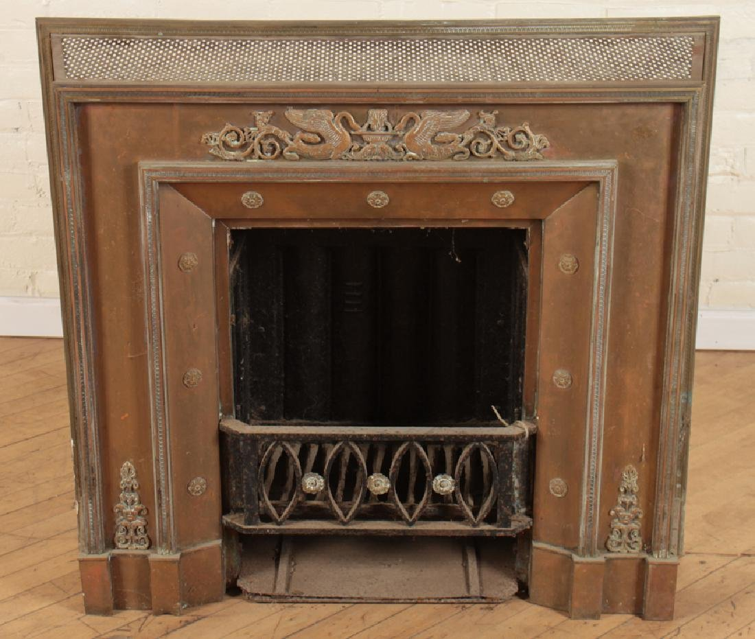 BRONZE AND IRON FIRE PLACE INSERT