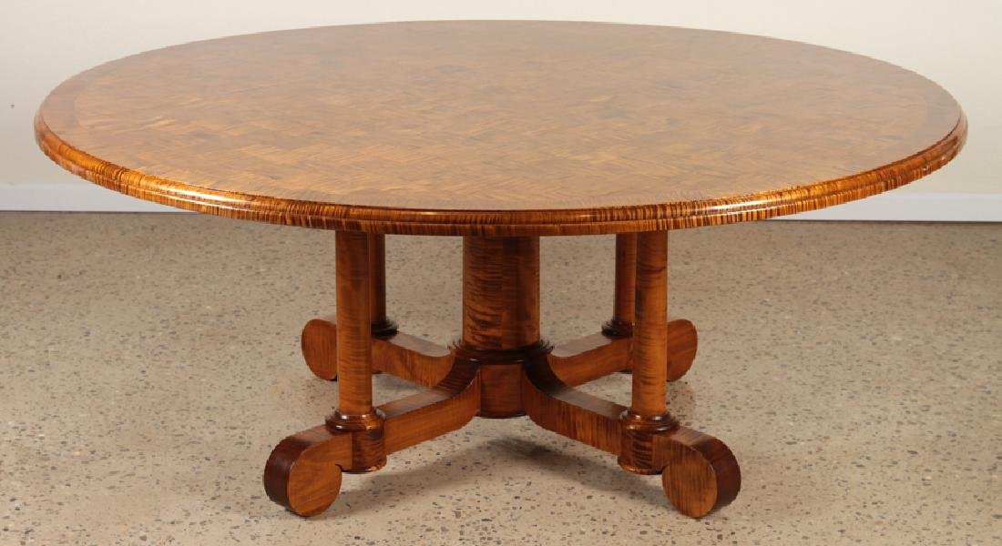 ROUND TIGER MAPLE PARQUETRY TOP DINING TABLE