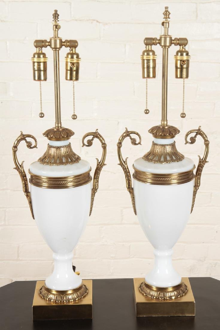 PAIR NEOCLASSICAL STYLE BRONZE GLASS TABLE LAMPS