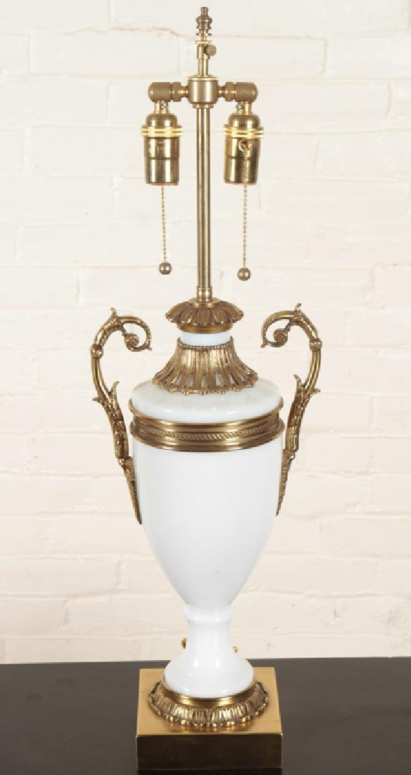 PAIR NEOCLASSICAL STYLE BRONZE GLASS TABLE LAMPS - 2