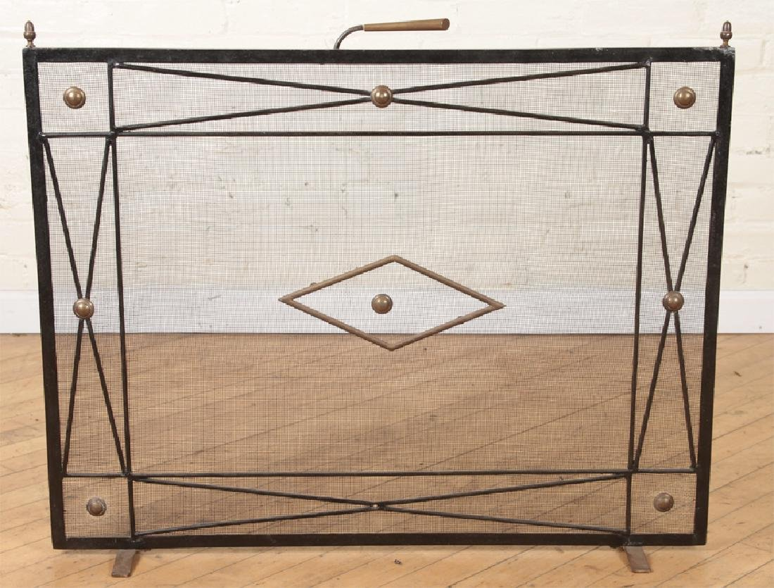 BRONZE AND IRON FIREPLACE SCREEN GEOMETRIC DESIGN