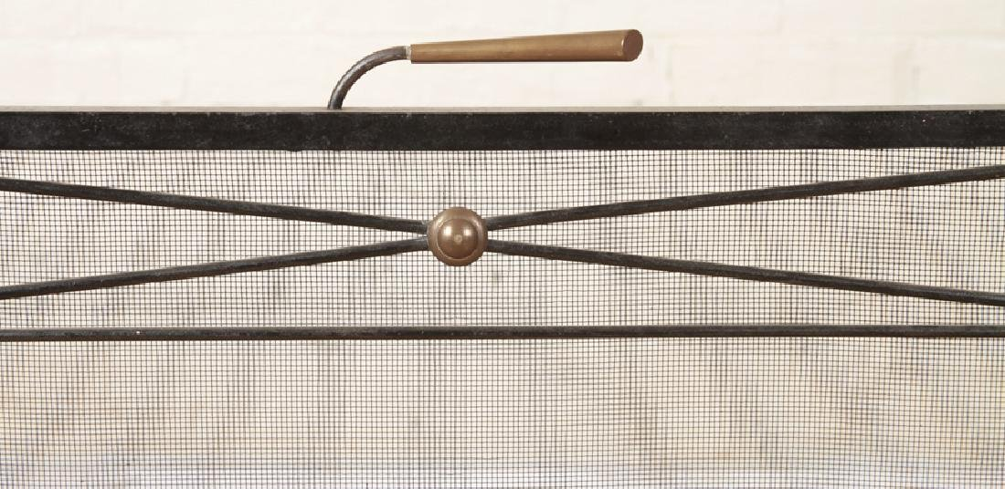 BRONZE AND IRON FIREPLACE SCREEN GEOMETRIC DESIGN - 2