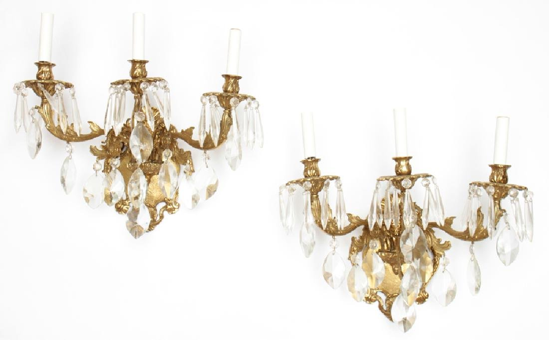 PAIR 3 ARM BRONZE WALL SCONCES WITH CRYSTALS