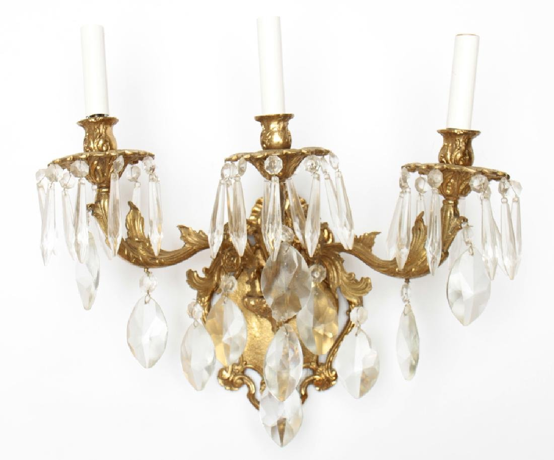 PAIR 3 ARM BRONZE WALL SCONCES WITH CRYSTALS - 2