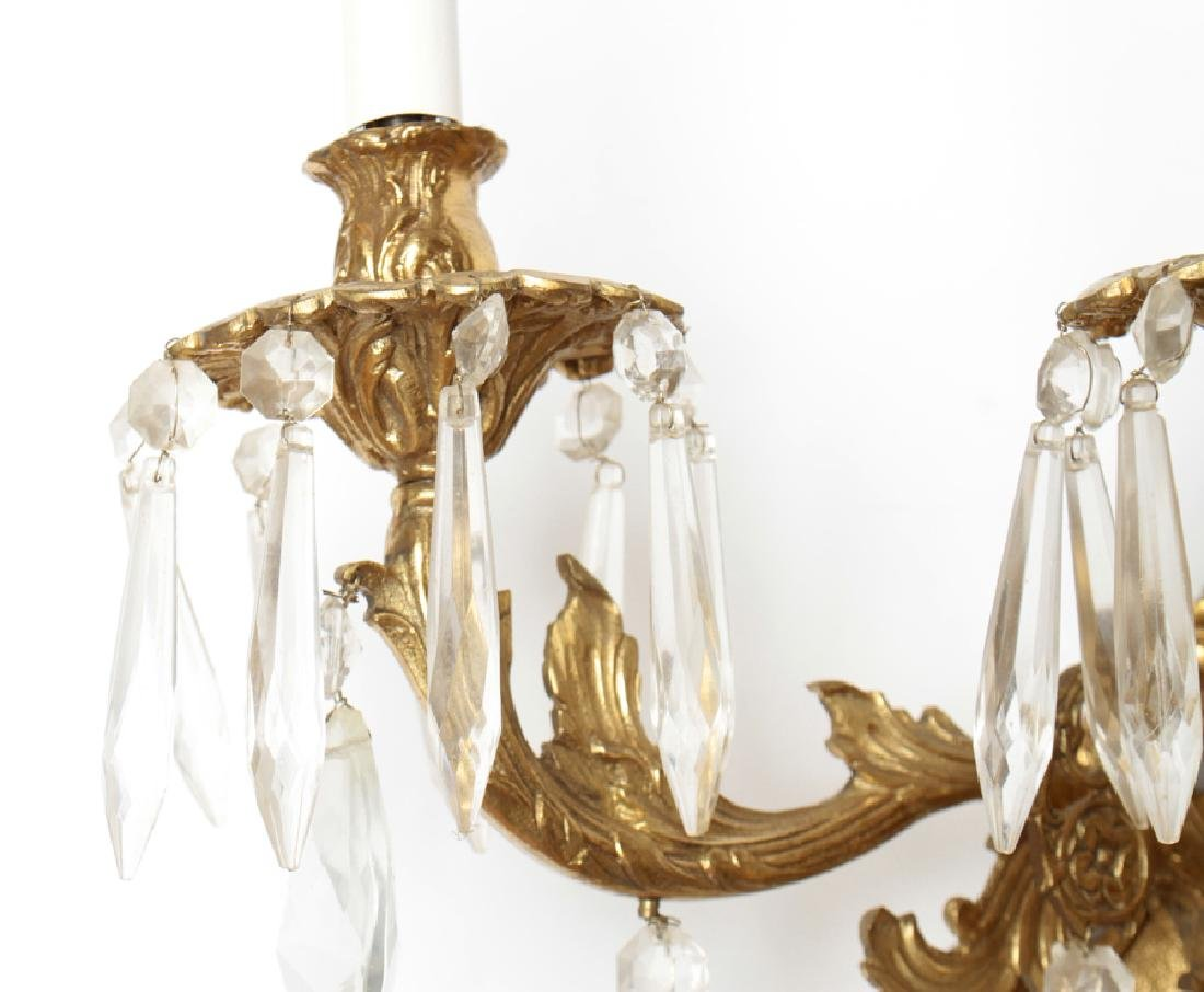 PAIR 3 ARM BRONZE WALL SCONCES WITH CRYSTALS - 3