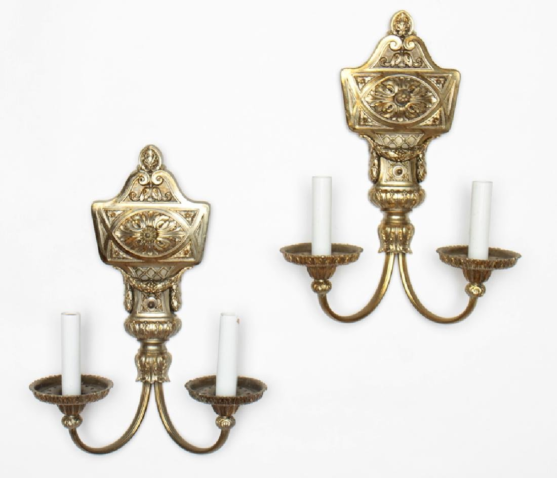 PAIR NEOCLASSICAL STYLE 2 ARM WALL SCONCES C.1940