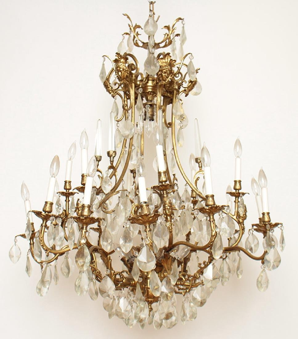 PAIR BRONZE CRYSTAL FIGURAL CAGE FORM CHANDELIERS - 2