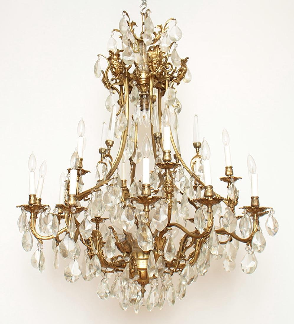 PAIR BRONZE CRYSTAL FIGURAL CAGE FORM CHANDELIERS - 3