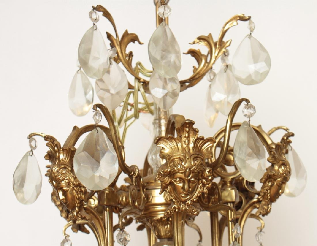 PAIR BRONZE CRYSTAL FIGURAL CAGE FORM CHANDELIERS - 4