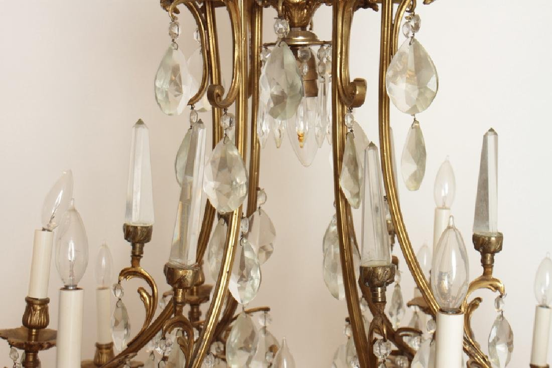 PAIR BRONZE CRYSTAL FIGURAL CAGE FORM CHANDELIERS - 5