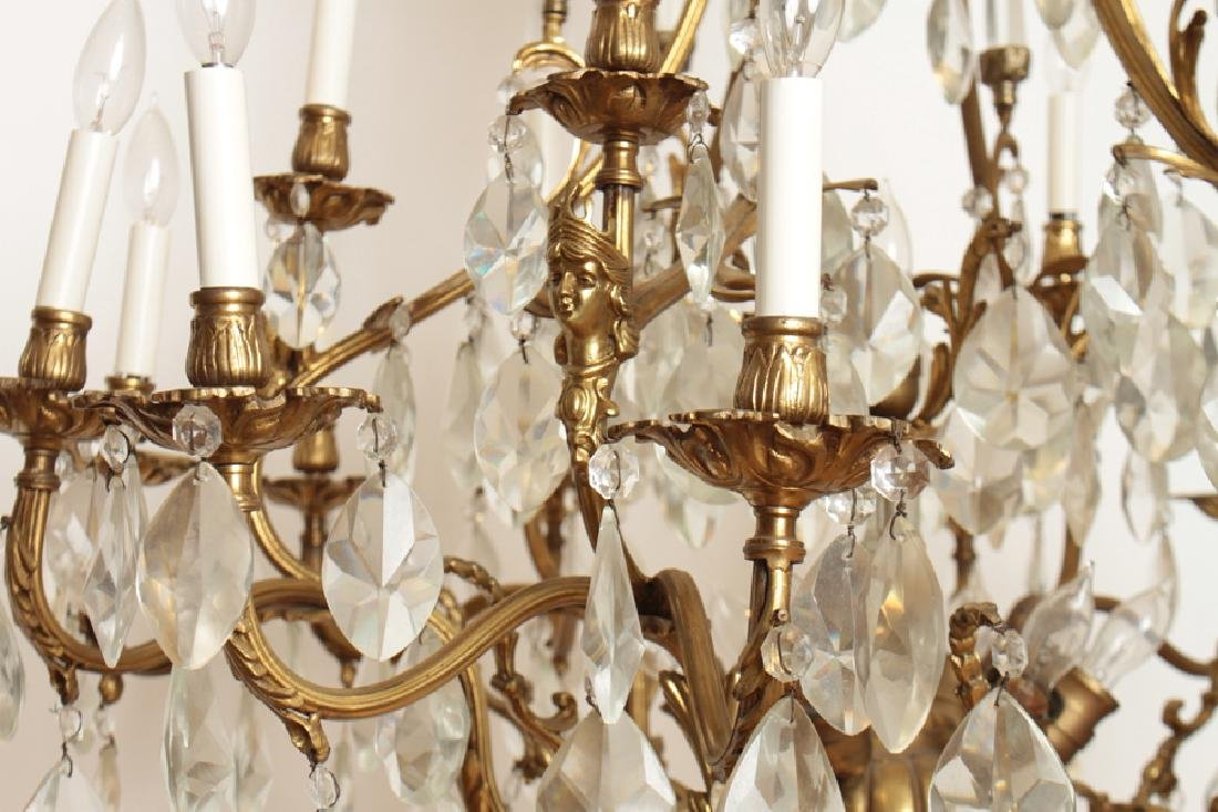 PAIR BRONZE CRYSTAL FIGURAL CAGE FORM CHANDELIERS - 6
