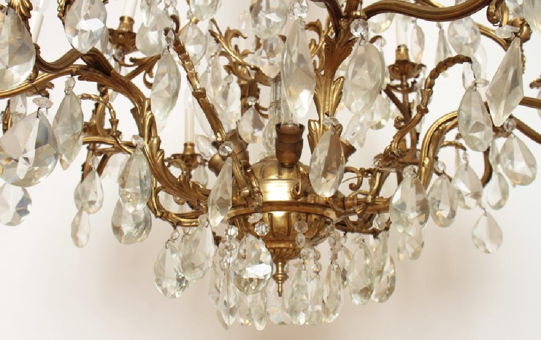 PAIR BRONZE CRYSTAL FIGURAL CAGE FORM CHANDELIERS - 7