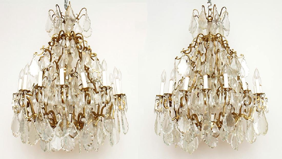 PAIR BRASS CRYSTAL 16 ARM CHANDELIERS CIRCA 1930