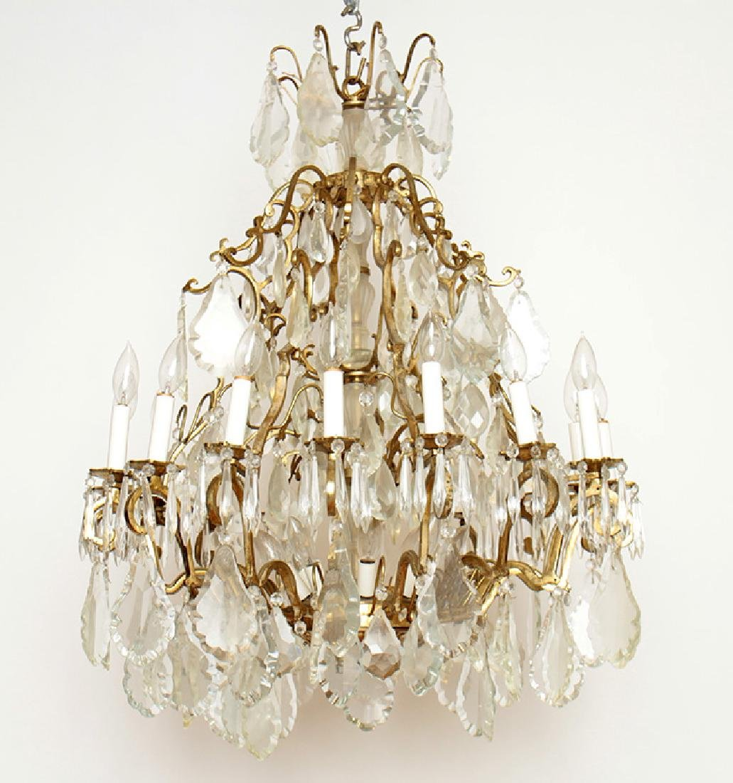 PAIR BRASS CRYSTAL 16 ARM CHANDELIERS CIRCA 1930 - 2
