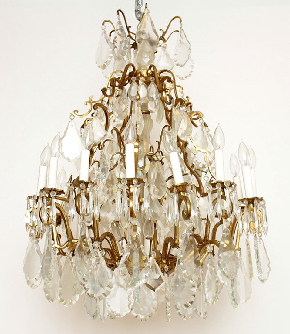 PAIR BRASS CRYSTAL 16 ARM CHANDELIERS CIRCA 1930 - 3