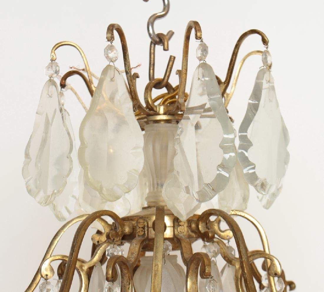 PAIR BRASS CRYSTAL 16 ARM CHANDELIERS CIRCA 1930 - 4