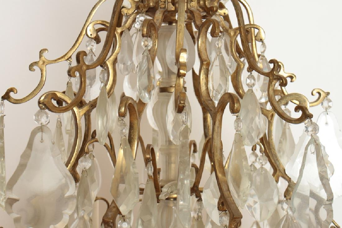 PAIR BRASS CRYSTAL 16 ARM CHANDELIERS CIRCA 1930 - 5