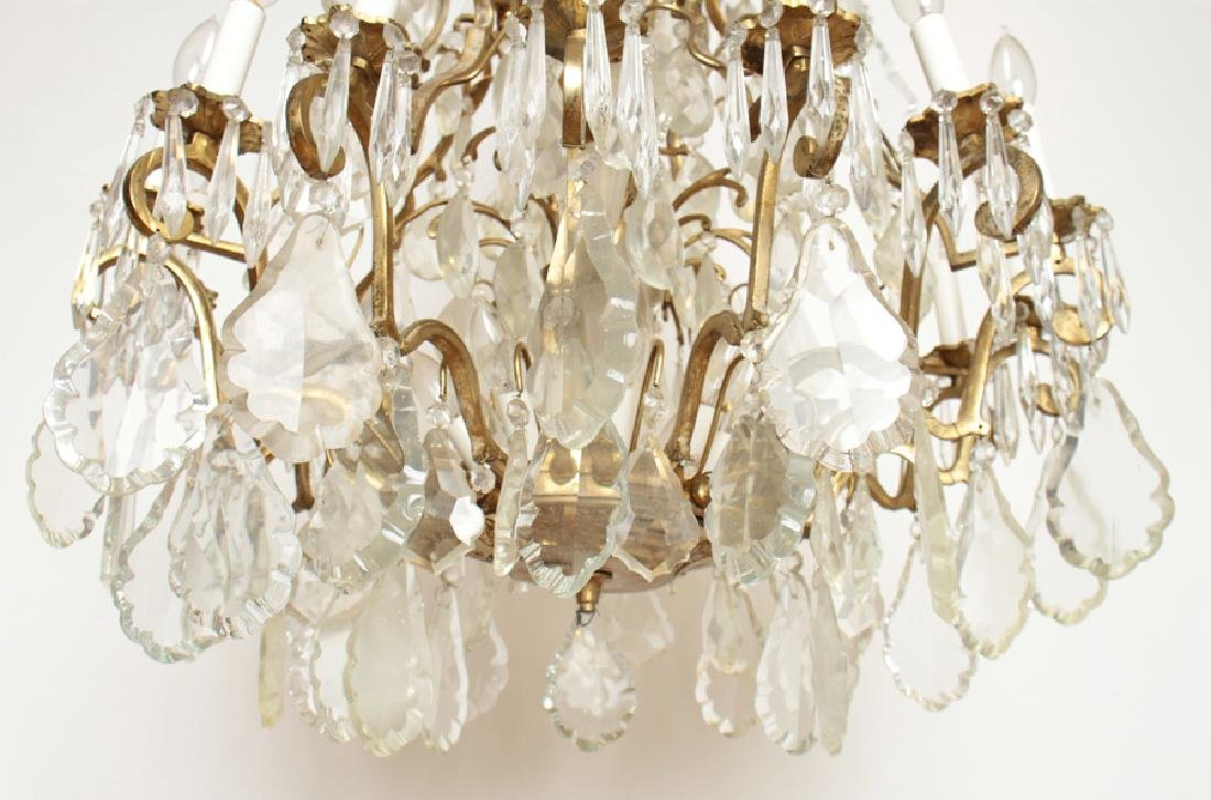 PAIR BRASS CRYSTAL 16 ARM CHANDELIERS CIRCA 1930 - 7