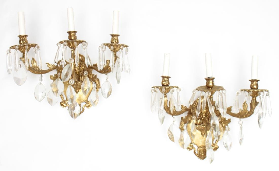 PAIR BRONZE CRYSTAL 3 ARM ROCOCO STYLE SCONCES