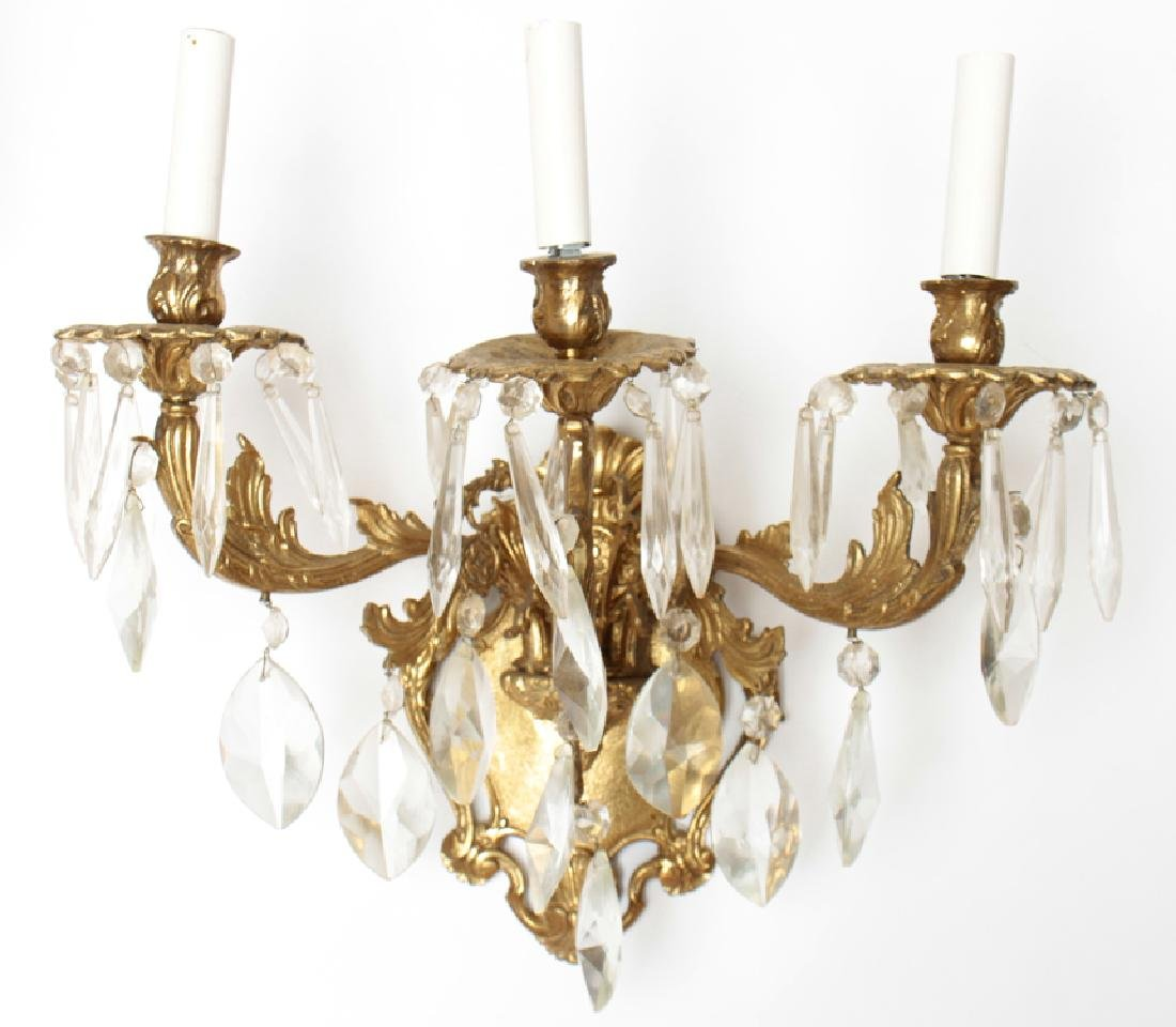 PAIR BRONZE CRYSTAL 3 ARM ROCOCO STYLE SCONCES - 2